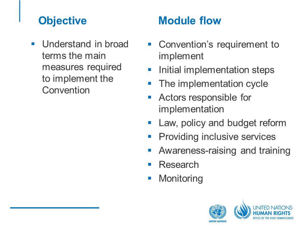Understand in broad terms the main measures required to implement the Convention Conventions requirement to implement Initial implementation steps The implementation cycle Actors responsible for implementation Law, policy and budget reform Providing inclusive services Awareness-raising and training Research Monitoring ObjectiveModule flow