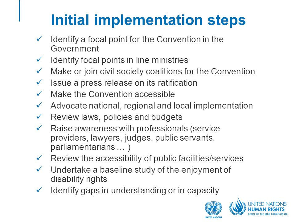 Initial implementation steps Identify a focal point for the Convention in the Government Identify focal points in line ministries Make or join civil society coalitions for the Convention Issue a press release on its ratification Make the Convention accessible Advocate national, regional and local implementation Review laws, policies and budgets Raise awareness with professionals (service providers, lawyers, judges, public servants, parliamentarians … ) Review the accessibility of public facilities/services Undertake a baseline study of the enjoyment of disability rights Identify gaps in understanding or in capacity