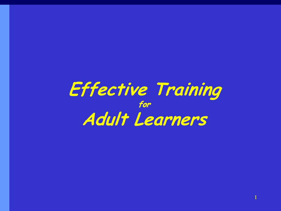 Effective Training for Adult Learners 1