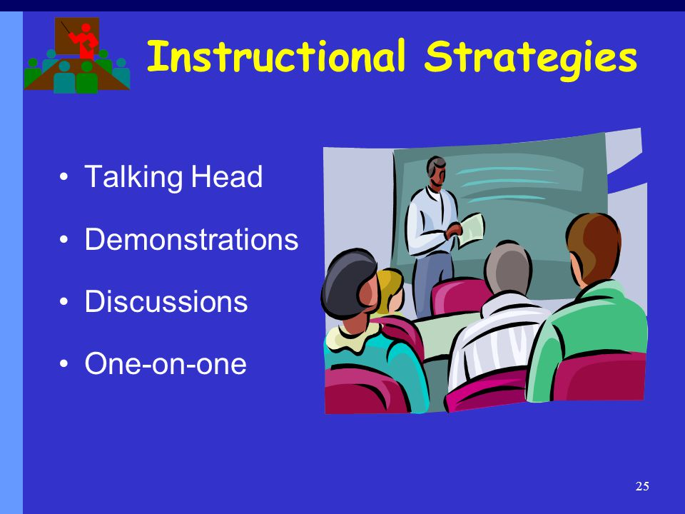 Instructional Strategies Talking Head Demonstrations Discussions One-on-one 25