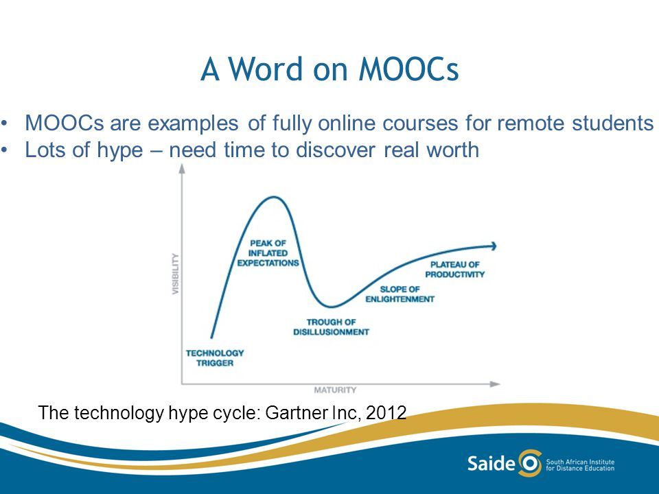 A Word on MOOCs The technology hype cycle: Gartner Inc, 2012 MOOCs are examples of fully online courses for remote students Lots of hype – need time to discover real worth