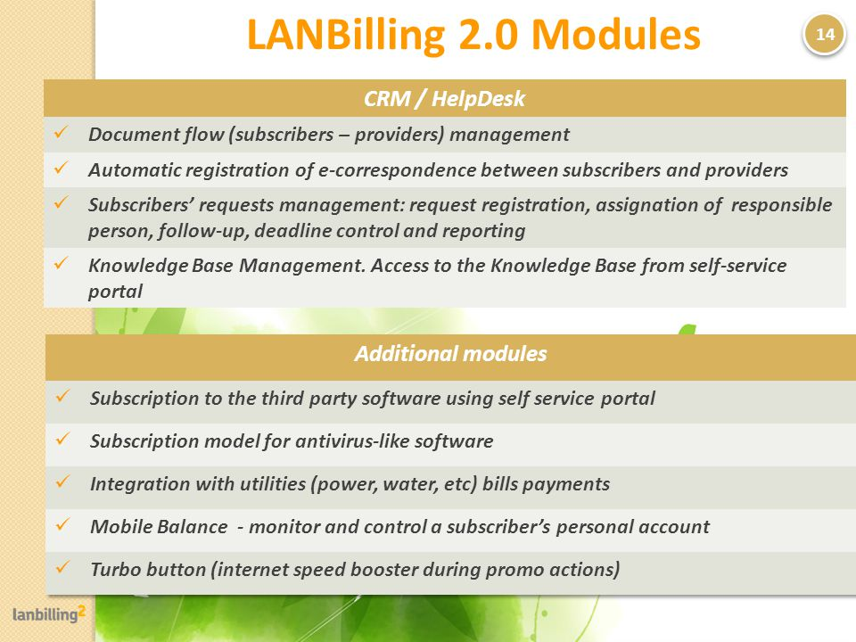 LANBilling 2.0 Modules 14 CRM / HelpDesk Document flow (subscribers – providers) management Automatic registration of e-correspondence between subscribers and providers Subscribers requests management: request registration, assignation of responsible person, follow-up, deadline control and reporting Knowledge Base Management.