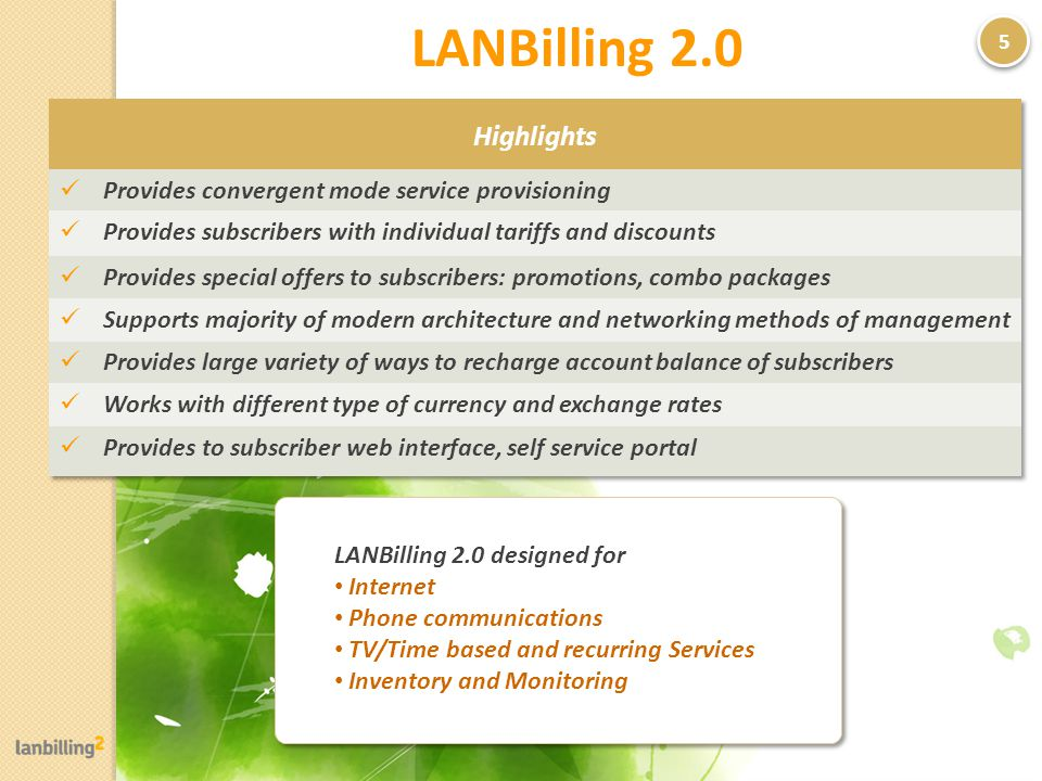 LANBilling 2.0 5 LANBilling 2.0 designed for Internet Phone communications TV/Time based and recurring Services Inventory and Monitoring