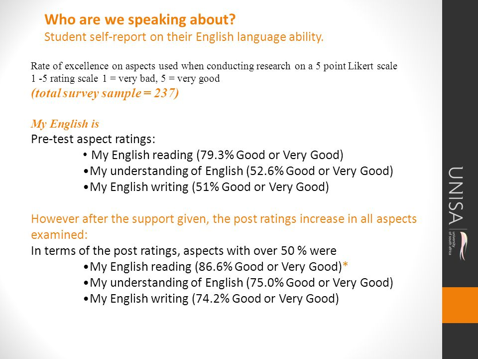 Rate of excellence on aspects used when conducting research on a 5 point Likert scale 1 -5 rating scale 1 = very bad, 5 = very good (total survey sample = 237) My English is Pre-test aspect ratings: My English reading (79.3% Good or Very Good) My understanding of English (52.6% Good or Very Good) My English writing (51% Good or Very Good) However after the support given, the post ratings increase in all aspects examined: In terms of the post ratings, aspects with over 50 % were My English reading (86.6% Good or Very Good)* My understanding of English (75.0% Good or Very Good) My English writing (74.2% Good or Very Good) Who are we speaking about.