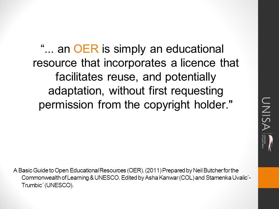 A Basic Guide to Open Educational Resources (OER).