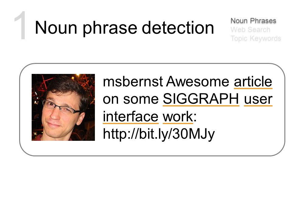Noun phrase detection 1 msbernst Awesome article on some SIGGRAPH user interface work: http://bit.ly/30MJy Noun Phrases Web Search Topic Keywords Noun