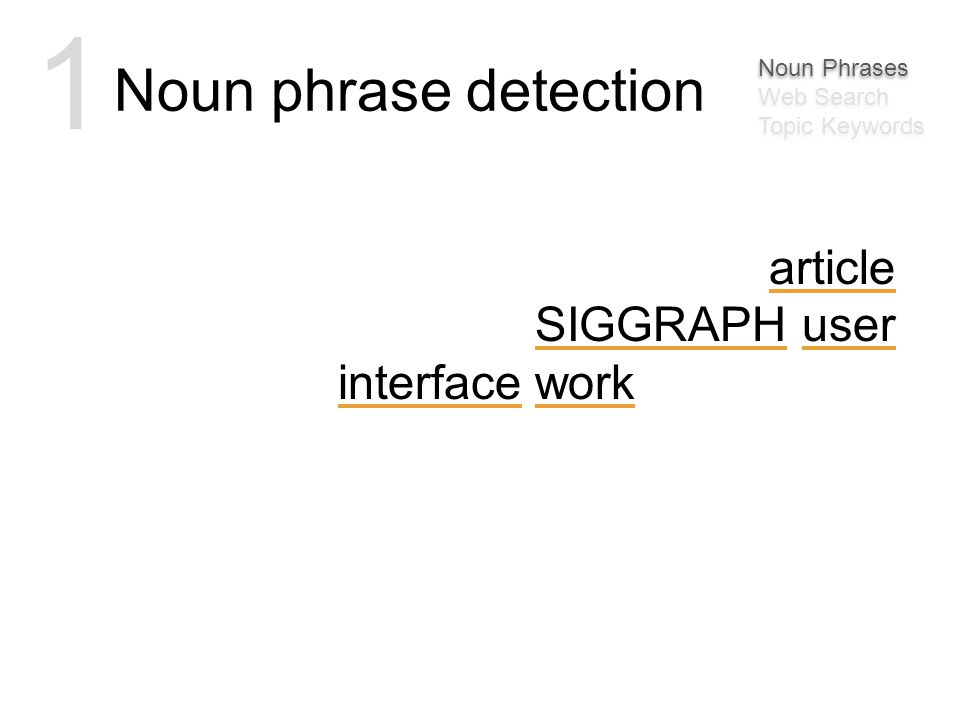 msbernst Awesome article on some SIGGRAPH user interface work: http://bit.ly/30MJy Noun phrase detection 1 Noun Phrases Web Search Topic Keywords Noun