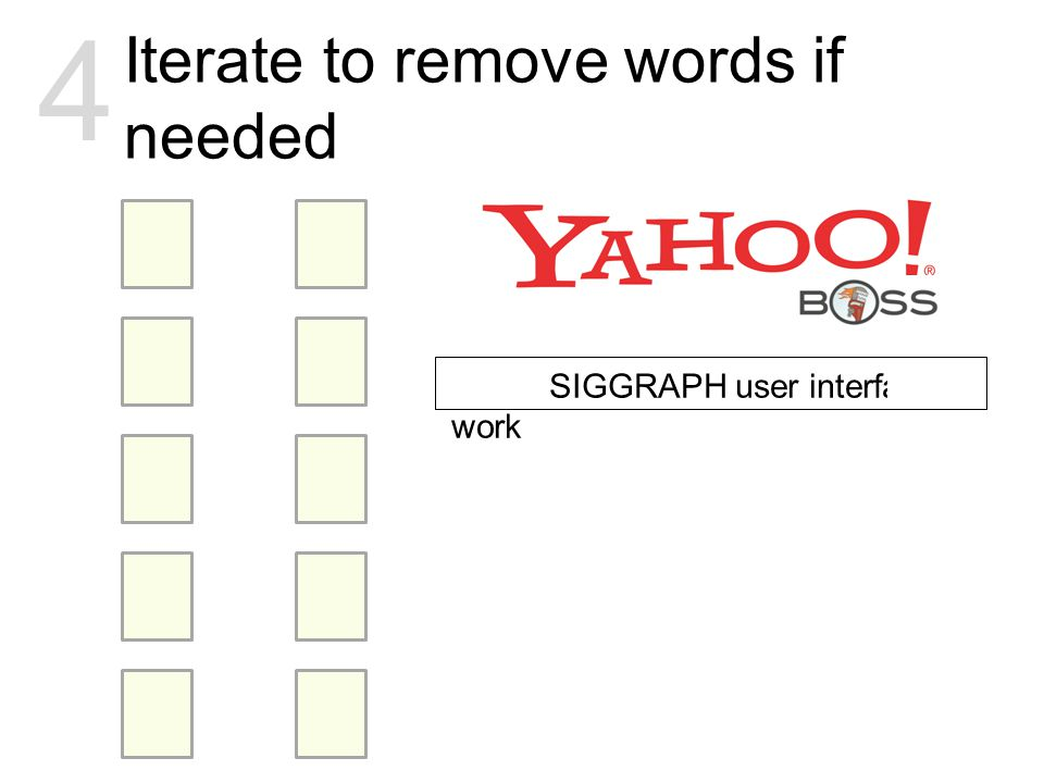 Iterate to remove words if needed 4 article SIGGRAPH user interface work
