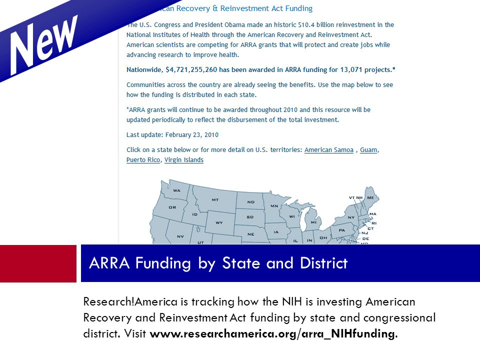 Research!America is tracking how the NIH is investing American Recovery and Reinvestment Act funding by state and congressional district.