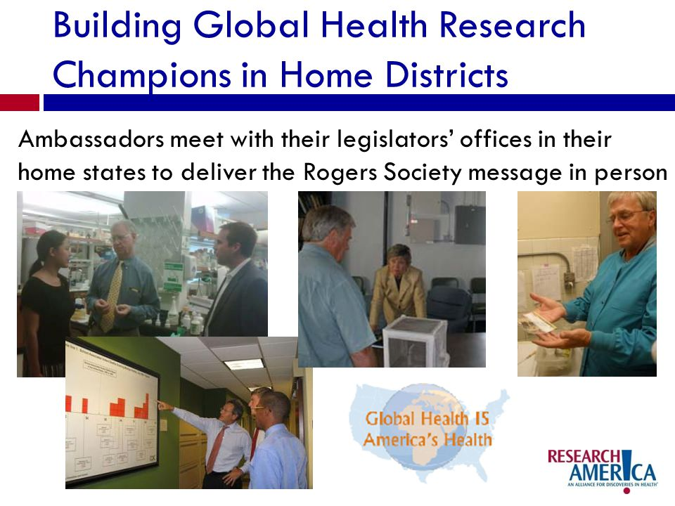 Building Global Health Research Champions in Home Districts Ambassadors meet with their legislators offices in their home states to deliver the Rogers