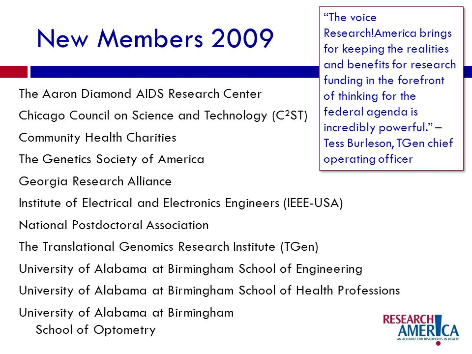 New Members 2009 The Aaron Diamond AIDS Research Center Chicago Council on Science and Technology (C²ST) Community Health Charities The Genetics Society of America Georgia Research Alliance Institute of Electrical and Electronics Engineers (IEEE-USA) National Postdoctoral Association The Translational Genomics Research Institute (TGen) University of Alabama at Birmingham School of Engineering University of Alabama at Birmingham School of Health Professions University of Alabama at Birmingham School of Optometry The voice Research!America brings for keeping the realities and benefits for research funding in the forefront of thinking for the federal agenda is incredibly powerful.