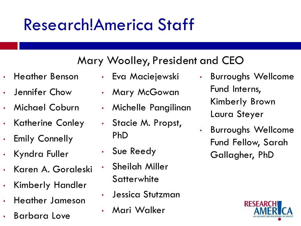 Research!America Staff Heather Benson Jennifer Chow Michael Coburn Katherine Conley Emily Connelly Kyndra Fuller Karen A.