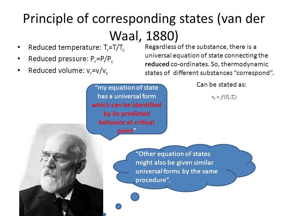 Principle of corresponding states (van der Waal, 1880) Reduced temperature: T r =T/T c Reduced pressure: P r =P/P c Reduced volume: v r =v/v c my equa