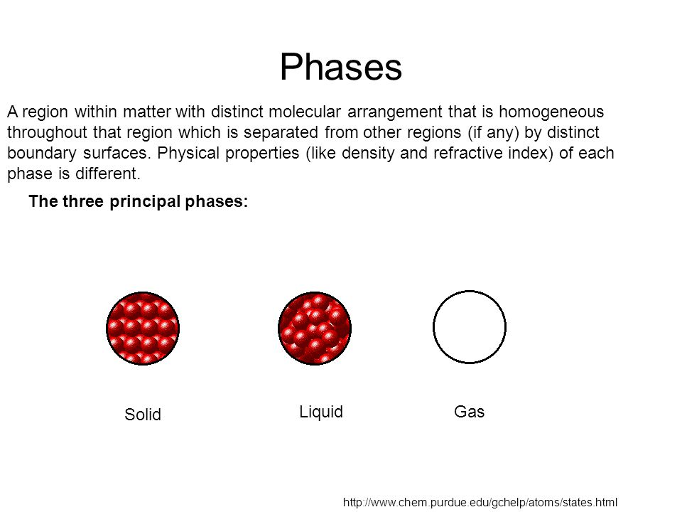 Phase equilibrium A system can be composed of subsystems with different molecular arrangements separated by phase boundaries (phases).