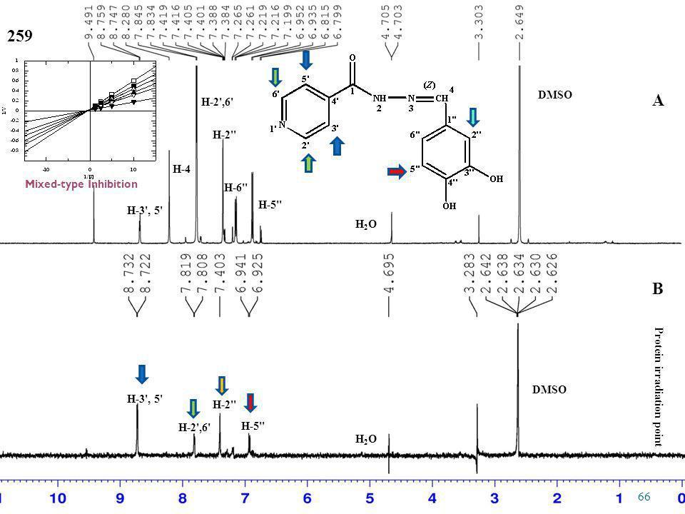259 DMSO H2OH2O B Protein irradiation point A B H-2',6' H-5'' H-3', 5' H-6'' H-2'' H-4 H-2',6' H-5'' H-3', 5' H-2'' H2OH2O DMSO 66 Mixed-type Inhibiti
