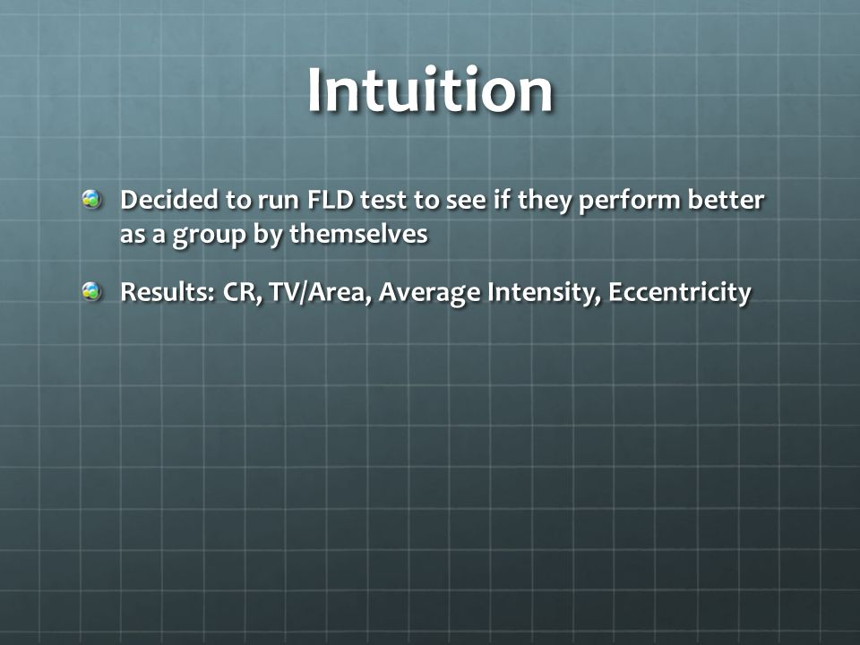 Intuition Decided to run FLD test to see if they perform better as a group by themselves Results: CR, TV/Area, Average Intensity, Eccentricity