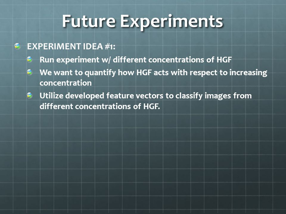 Future Experiments EXPERIMENT IDEA #1: Run experiment w/ different concentrations of HGF We want to quantify how HGF acts with respect to increasing concentration Utilize developed feature vectors to classify images from different concentrations of HGF.