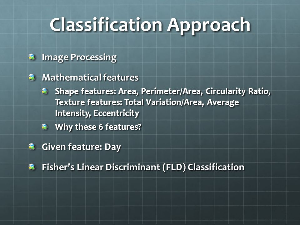 Classification Approach Image Processing Mathematical features Shape features: Area, Perimeter/Area, Circularity Ratio, Texture features: Total Variation/Area, Average Intensity, Eccentricity Why these 6 features.