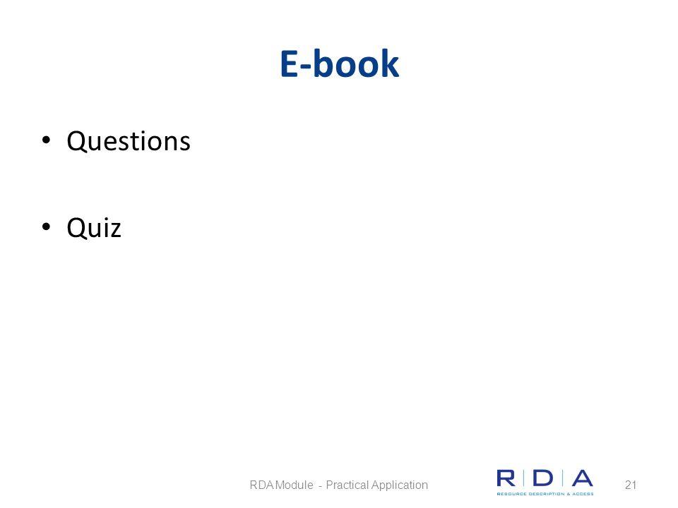 E-book Questions Quiz RDA Module - Practical Application21