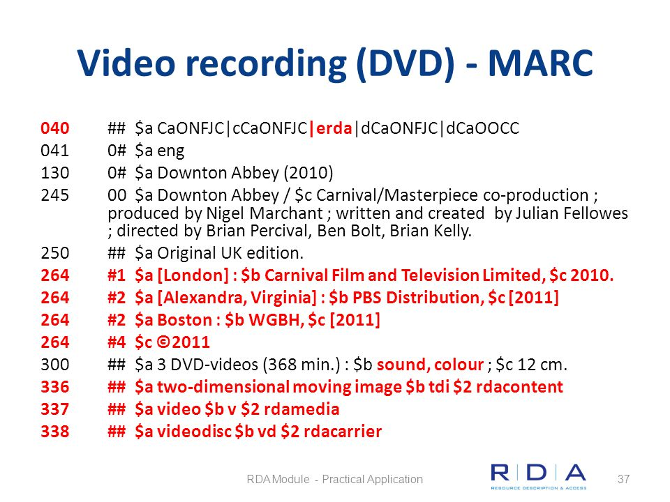 Video recording (DVD) - MARC 040## $a CaONFJC|cCaONFJC|erda|dCaONFJC|dCaOOCC 0410# $a eng 1300# $a Downton Abbey (2010) 24500 $a Downton Abbey / $c Ca