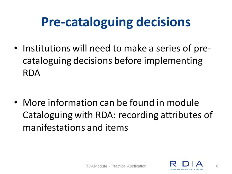 Video recording (DVD) Questions Quiz RDA Module - Practical Application47