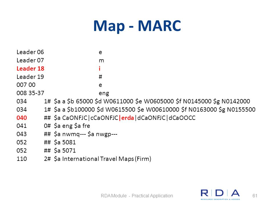 Map - MARC Leader 06e Leader 07m Leader 18i Leader 19# 007 00e 008 35-37eng 0341# $a a $b 65000 $d W0611000 $e W0605000 $f N0145000 $g N0142000 0341#