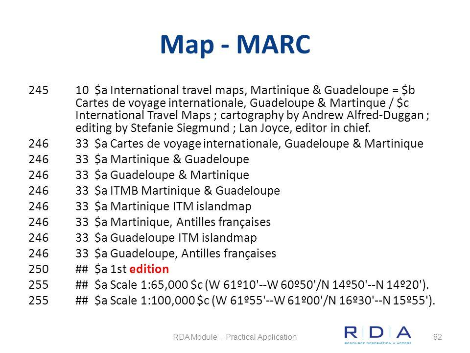 Map - MARC 24510 $a International travel maps, Martinique & Guadeloupe = $b Cartes de voyage internationale, Guadeloupe & Martinque / $c International