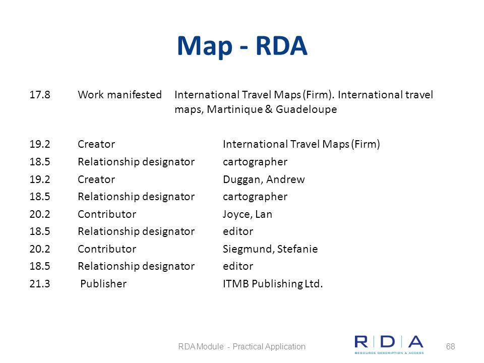 Map - RDA 17.8Work manifestedInternational Travel Maps (Firm). International travel maps, Martinique & Guadeloupe 19.2CreatorInternational Travel Maps