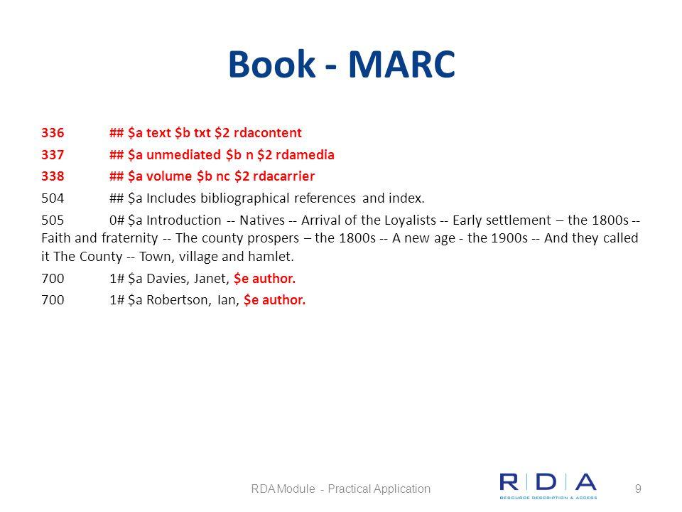 Book - MARC 336## $a text $b txt $2 rdacontent 337## $a unmediated $b n $2 rdamedia 338## $a volume $b nc $2 rdacarrier 504## $a Includes bibliographi