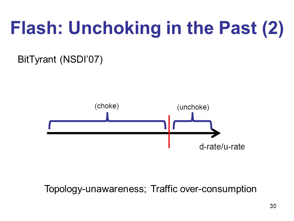 30 d-rate/u-rate (unchoke) (choke) BitTyrant (NSDI07) Topology-unawareness; Traffic over-consumption Flash: Unchoking in the Past (2)