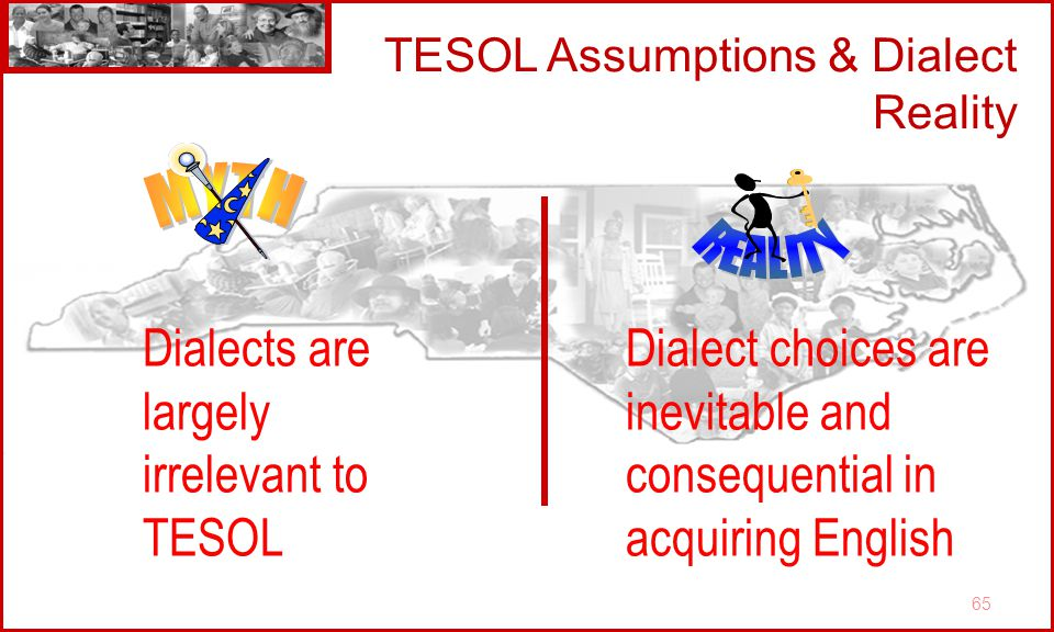 65 TESOL Assumptions & Dialect Reality Dialects are largely irrelevant to TESOL Dialect choices are inevitable and consequential in acquiring English