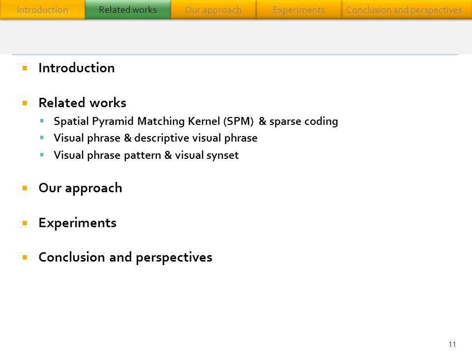 Introduction Related works Spatial Pyramid Matching Kernel (SPM) & sparse coding Visual phrase & descriptive visual phrase Visual phrase pattern & vis