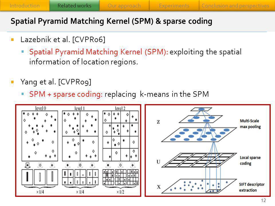 Lazebnik et al. [CVPR06] Spatial Pyramid Matching Kernel (SPM): exploiting the spatial information of location regions. Yang et al. [CVPR09] SPM + spa