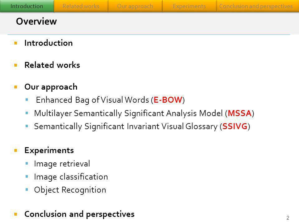 Introduction Related works Our approach Enhanced Bag of Visual Words (E-BOW) Multilayer Semantically Significant Analysis Model (MSSA) Semantically Si