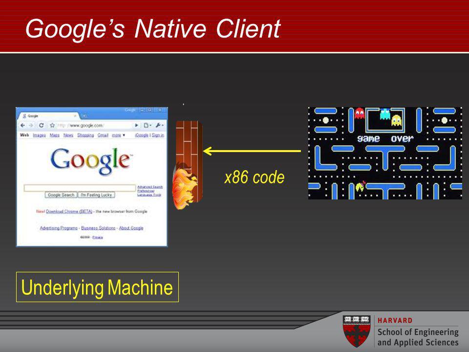 Googles Native Client x86 code Underlying Machine