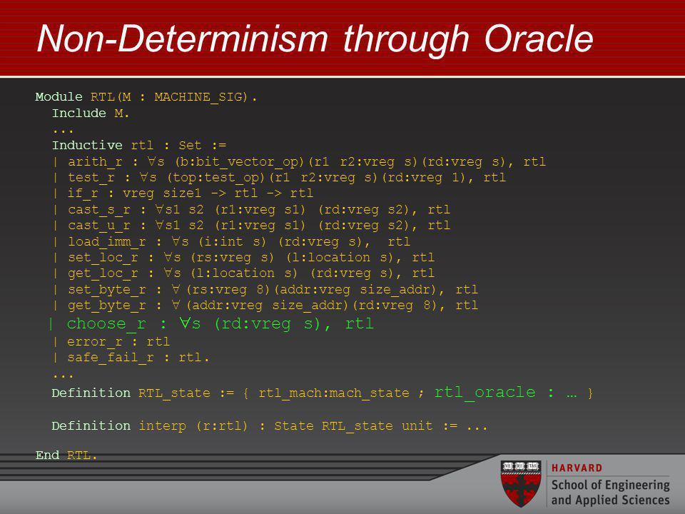 Non-Determinism through Oracle Module RTL(M : MACHINE_SIG).