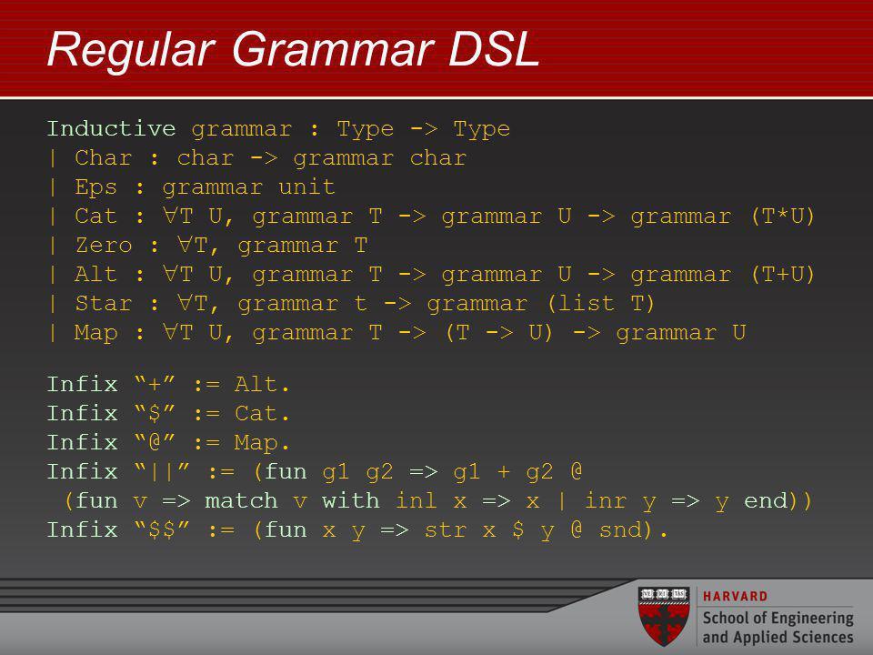 Regular Grammar DSL Inductive grammar : Type -> Type | Char : char -> grammar char | Eps : grammar unit | Cat : T U, grammar T -> grammar U -> grammar (T*U) | Zero : T, grammar T | Alt : T U, grammar T -> grammar U -> grammar (T+U) | Star : T, grammar t -> grammar (list T) | Map : T U, grammar T -> (T -> U) -> grammar U Infix + := Alt.