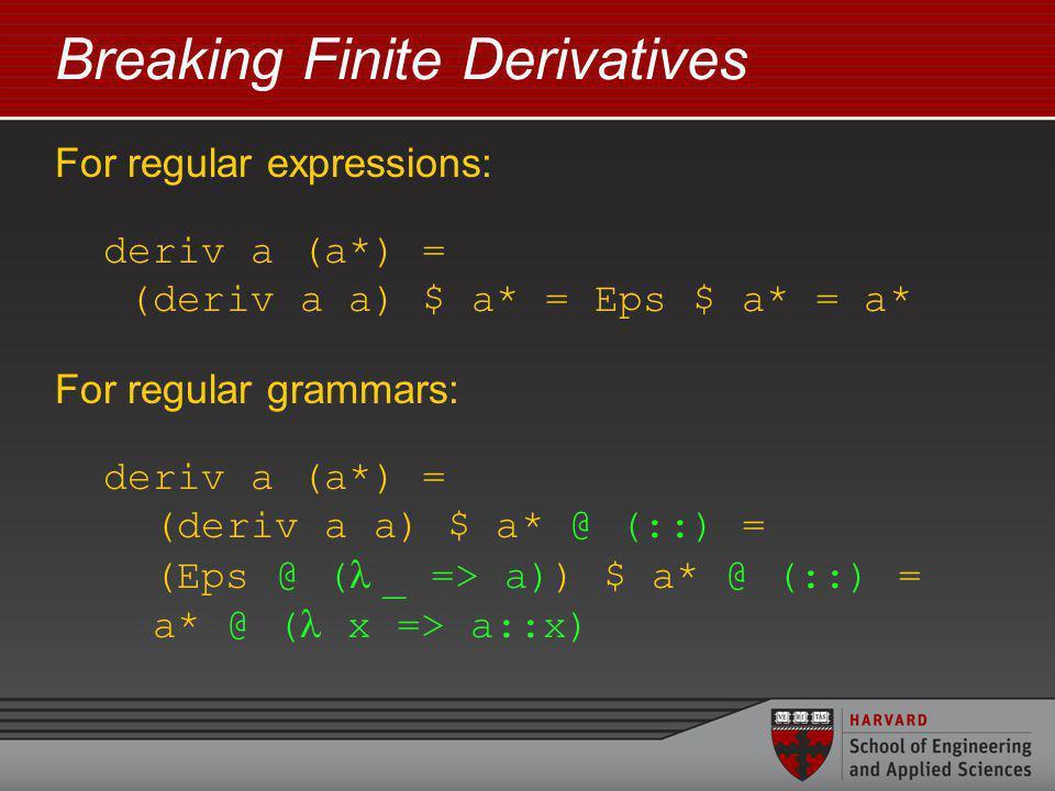 Breaking Finite Derivatives For regular expressions: deriv a (a*) = (deriv a a) $ a* = Eps $ a* = a* For regular grammars: deriv a (a*) = (deriv a a) $ a* @ (::) = (Eps @ ( _ => a)) $ a* @ (::) = a* @ ( x => a::x)