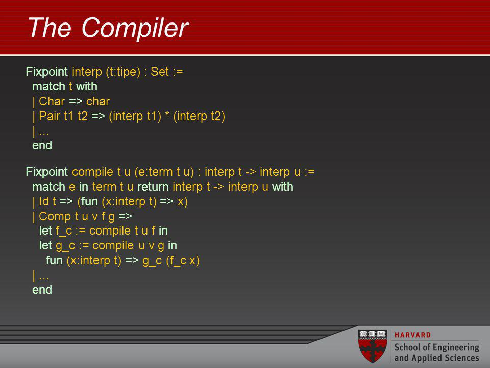 The Compiler Fixpoint interp (t:tipe) : Set := match t with | Char => char | Pair t1 t2 => (interp t1) * (interp t2) |...