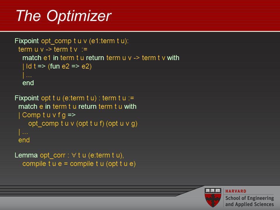 The Optimizer Fixpoint opt_comp t u v (e1:term t u): term u v -> term t v := match e1 in term t u return term u v -> term t v with | Id t => (fun e2 => e2) |...