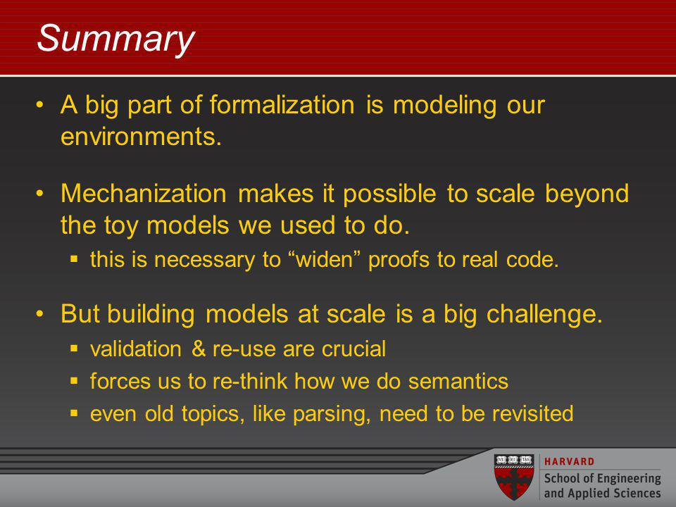 Summary A big part of formalization is modeling our environments.
