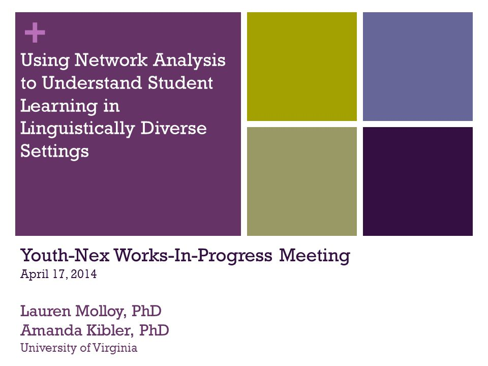 + Using Network Analysis to Understand Student Learning in Linguistically Diverse Settings Youth-Nex Works-In-Progress Meeting April 17, 2014 Lauren Molloy, PhD Amanda Kibler, PhD University of Virginia