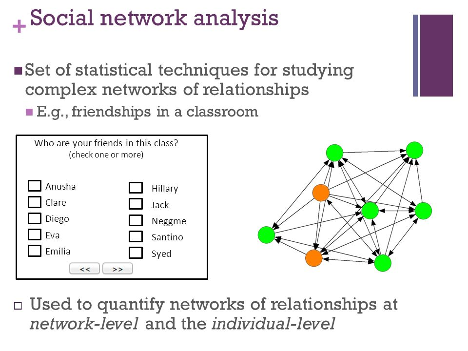 + Social network analysis Set of statistical techniques for studying complex networks of relationships E.g., friendships in a classroom Used to quantify networks of relationships at network-level and the individual-level Who are your friends in this class.