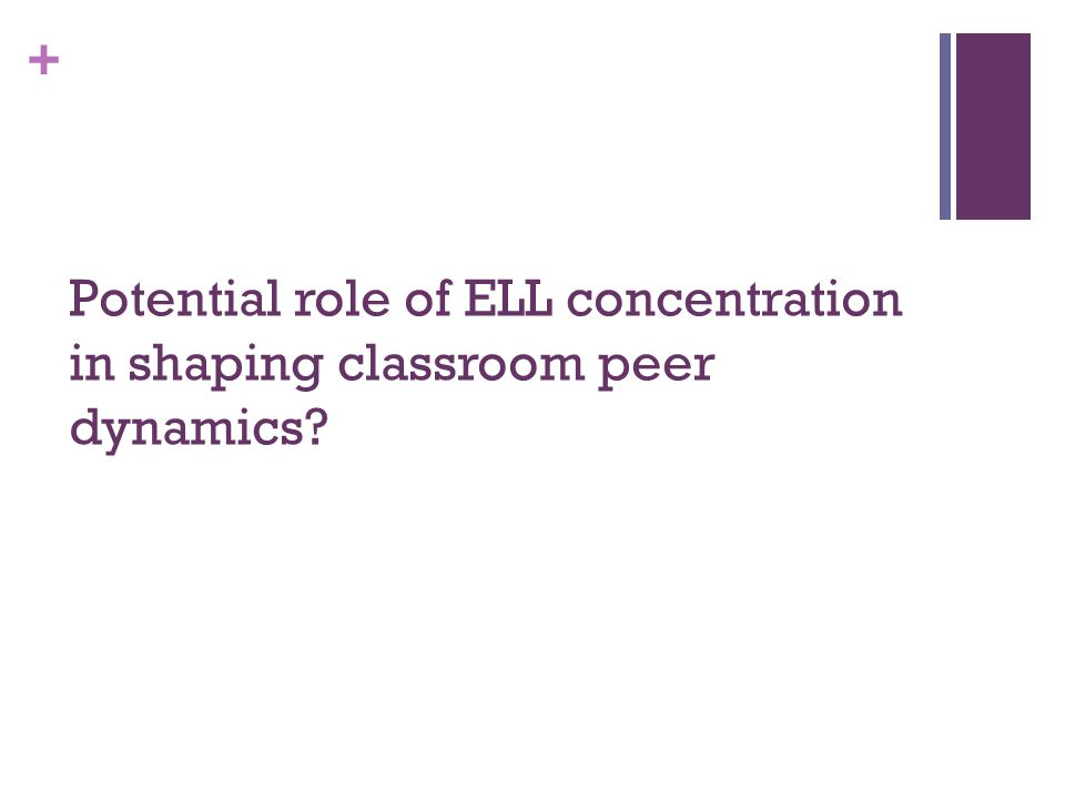 + Potential role of ELL concentration in shaping classroom peer dynamics
