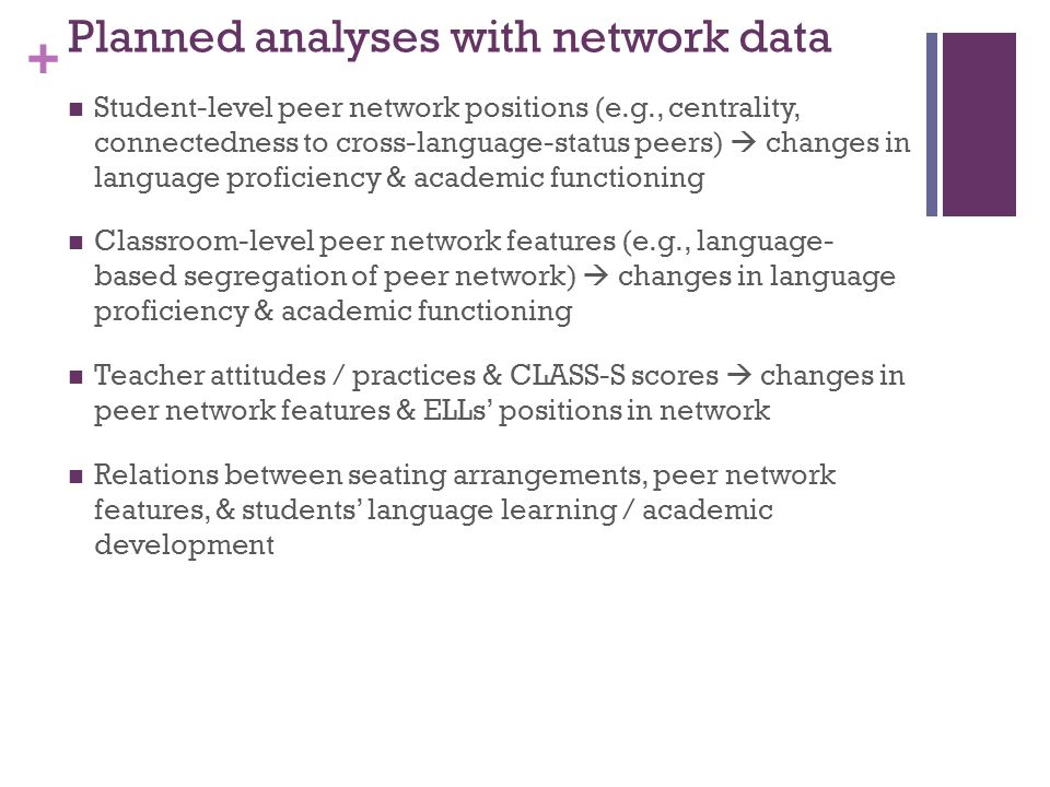 + Planned analyses with network data Student-level peer network positions (e.g., centrality, connectedness to cross-language-status peers) changes in language proficiency & academic functioning Classroom-level peer network features (e.g., language- based segregation of peer network) changes in language proficiency & academic functioning Teacher attitudes / practices & CLASS-S scores changes in peer network features & ELLs positions in network Relations between seating arrangements, peer network features, & students language learning / academic development
