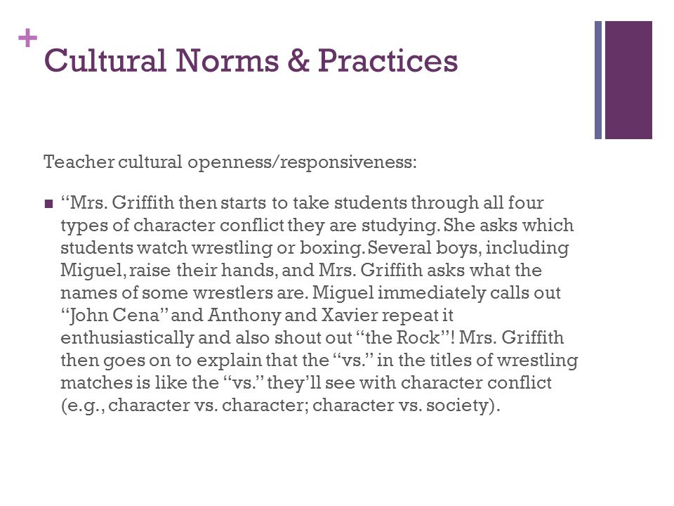 + Cultural Norms & Practices Teacher cultural openness/responsiveness: Mrs.
