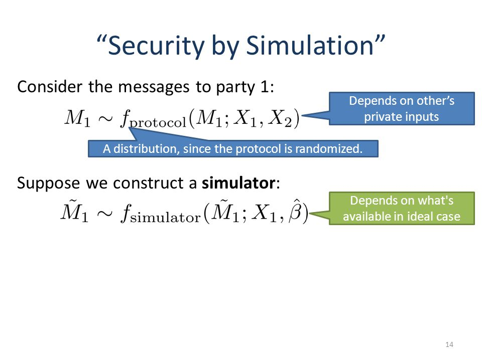 Security by Simulation 14 Consider the messages to party 1: Depends on what's available in ideal case Depends on others private inputs Suppose we cons