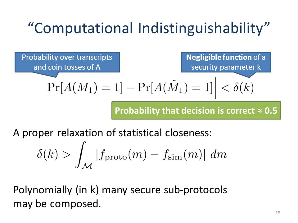 Computational Indistinguishability 18 Negligible function of a security parameter k Probability over transcripts and coin tosses of A Probability that decision is correct 0.5 A proper relaxation of statistical closeness: Polynomially (in k) many secure sub-protocols may be composed.