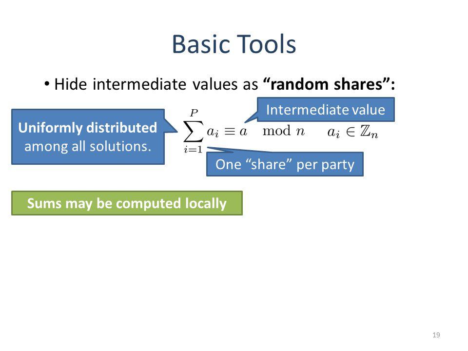 Basic Tools 19 Uniformly distributed among all solutions. Hide intermediate values as random shares: Intermediate value One share per party Sums may b