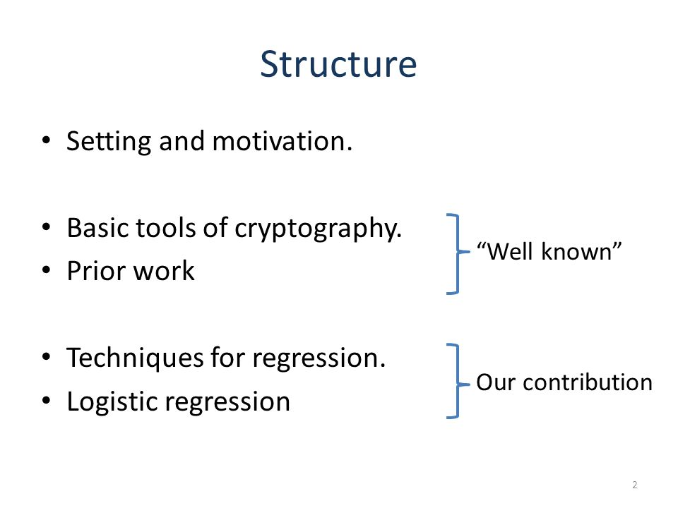 Structure Setting and motivation. Basic tools of cryptography.